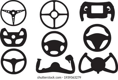set of different steering wheels