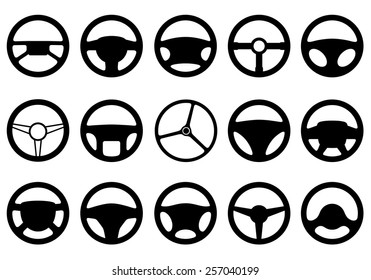 Set of different steering wheels isolated on white