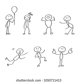 Set of different stick figures in the moves.
