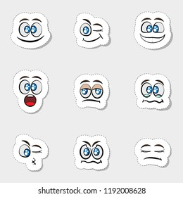set of different stickers clouds faces illustration in vector