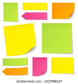Set Of Different Sticky Notes Yellow Green Pink Orange