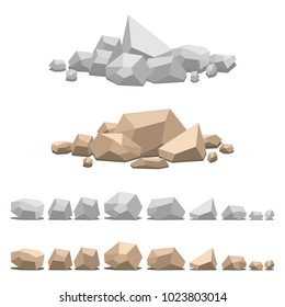 Set of different stones, vector illustration