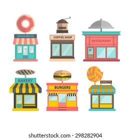 set of different store buildings. vector shop illustration. doughnut, coffee shop cafe, restaurant, bakery, burgers and candy shop icons