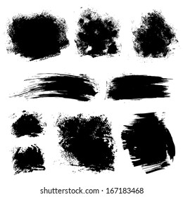 Set of different strokes thick paint textured brush on white background 1. Vector draw