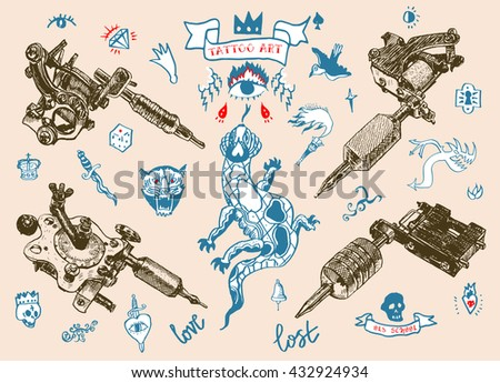 Set Different Style Realistic Tattoo Machines Stock Vector (Royalty ...