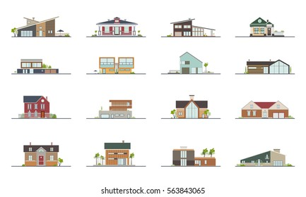 Set of different styles residential houses. Colorful flat vector illustration. Collection building:  villa, cottage, mansion.