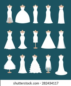 Set of different styles wedding dresses. Fashion bride dress, modern style design. Collection of white dress silhouette. Bridal shower composition, vector art image illustration isolated on background