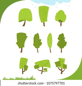 Set of different stylized trees in vector