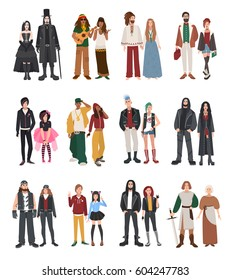 Set of different subculture. Couple rapper, hipster, punk, rocker, hippie, goth, emo, historical reenactors, metalhead, biker, rastaman. Girl and guy in flat style illustration collection.