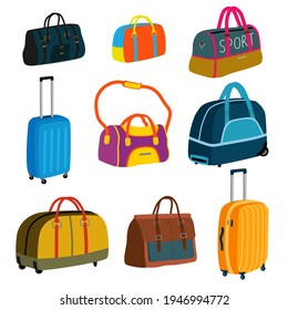 Set of different suitcases and travel bags. Baggage, luggage. Sports bag, leather briefcase, women handbag, wheeling suitcase. Cartoon flat vector illustration