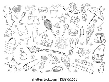 Set of different summer doodle elemnts isolated on white background. Summer hand drawn collection.