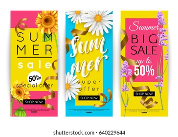 Set of different summer sale announcements with flowers and confetti