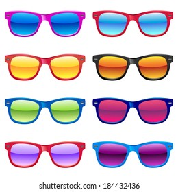 Set of different sun glasses for your designs.