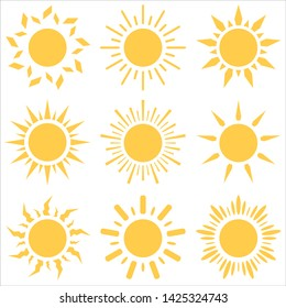 Set of different sun icons. Vector illustration.