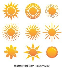 Set of Different Suns Icon With More Unique Style
