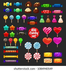 Set of different sweets on black background - hard candies dragee jelly beans peppermint candy. Vector illustration, isolated