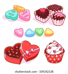 Set of different sweets for Valentine's Day. Colored candy in heart-shaped box of chocolates, cupcake with hearts and chocolates. Vector clip-art illustration on a white background.
