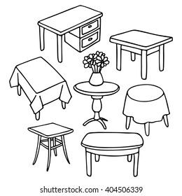 Set of different tables. Set of simple line drawing square and round tables for a variety of interiors..