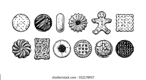 Set of different tasty cookies in old fashioned etched style. Black and white, isolated on white.