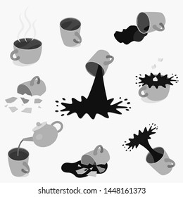 Set of different tea and coffee cups - full, empty, broken. Vector illustration. Black and white.