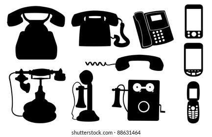 set of different telephones