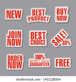 set of different text advertising and promotion badges, stickers and banners