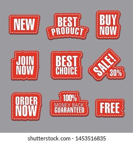 set of different text advertising and promotion badges, stickers and stripes