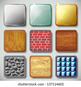 Set of different textured apps icons, design elements. Vector illustration