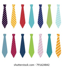 Set of different ties, vector illustration