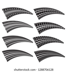 set of different tire print marks