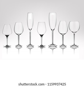 Set of different transparent vector wine glasses empty. Vector illustration in photorealistic style.