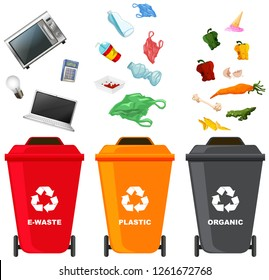 Set of different trash bin illustration