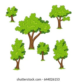 Set of different trees with grass
