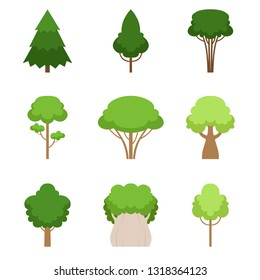 Set of different trees oak, sequoia, spruce, pine, cedar, maple, linden, cattan. Vector illustration.