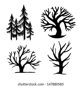 set of different trees, simple signs