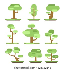 Set of different trees. Sprites for the game. vector flat forests illustrations isolated on white background.
