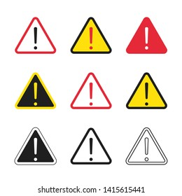 Set of different triangle danger signs.  Attention symbol with exclamation mark icon. Risk sign black, red and yellow; monochrome, simple and outline. Caution error. Template for your design.