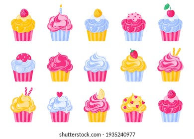 Set of different type and color of cupcakes or muffins with cream.