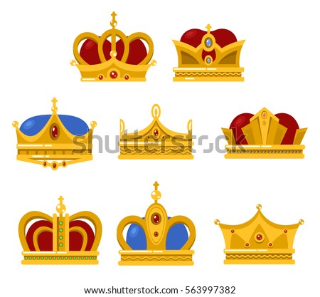 Set Different Type Crowns King Queen Stock Vector Royalty Free