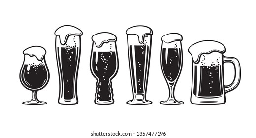 Set of different types of beer glasses. Hand drawn vector illustration isolated on white background.