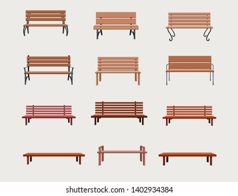 Set of different types of benches in vector. bench