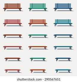 Set of different types of benches in vector