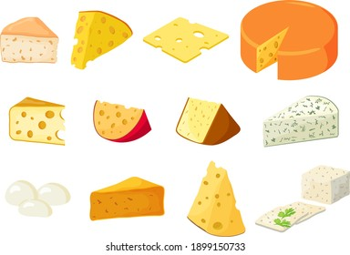 A set of different types of cheese.Cheddar ,mozzarella, maasdam,brie, roquefort, gouda, feta and parmesan.Cut into triangles and slices of delicious cheeses.Flat vector illustration in cartoon style.