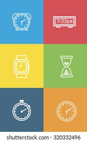 Set of different types of clocks on different colors background