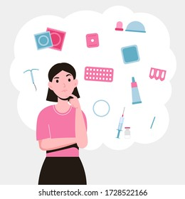 Set different types of contraception. Birth control methods and options. Girl choosing a method of contraceptive. Flat vector illustration isolated white background.
