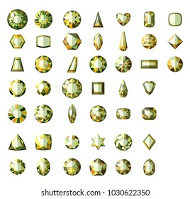 Set of different types of cuts of precious stone demantoid in realistic shapes isolated. Green gem. Vector illustration.eps10