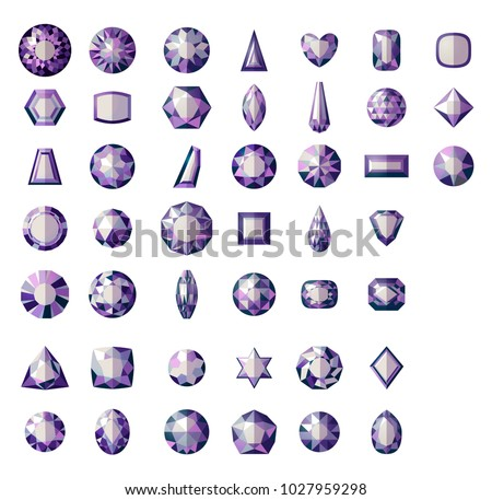Set Different Types Cuts Precious Stone Stock Vector Royalty Free