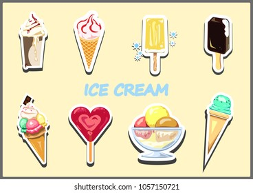 Set of different types and flavors of ice cream. Illustration in the form of a sticker.