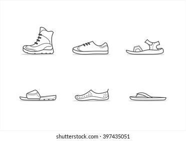 Set of different types of footwear: boots, sneakers, sandals, slippers, shoes for diving