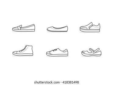 Set of different types of footwear. Six icons kinds of shoes . Outline black and white signs. Vector illustration of woman sport and comfort shoes.